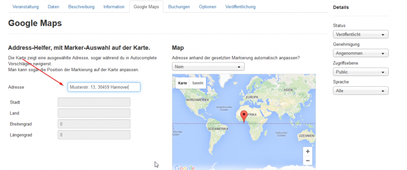 JoomliC - [SOLVED] GoogleMaps search for Address (no